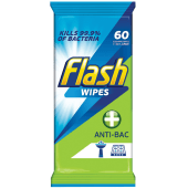 Flash Wipes Anti Bacterial Extra Large Lemon 60Wipes