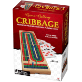 Cribbage Folding Wood Board Game with Playing Cards