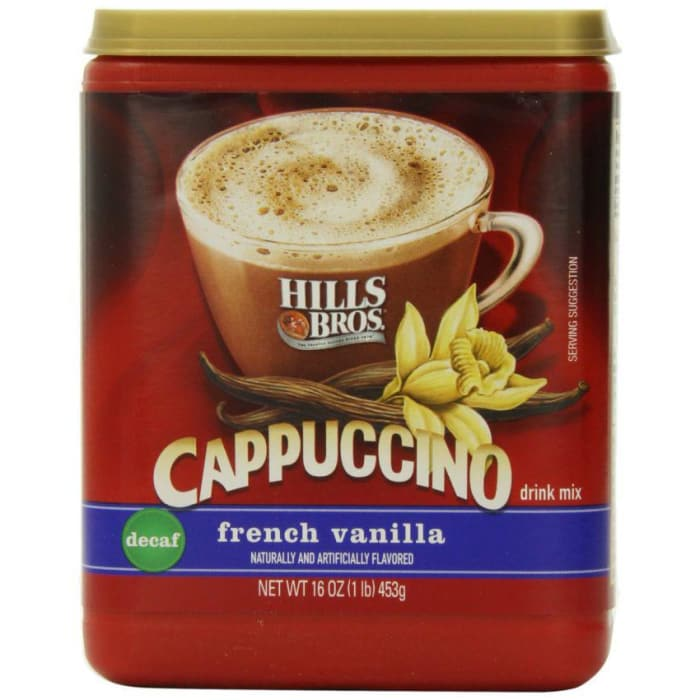 Hills Bros  Cappuccino French Vanilla Decaf Coffee 453g