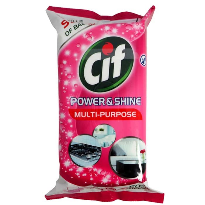 Cif Power and Shine Antibacterial Multi-Purpose Pink Lily Wipes