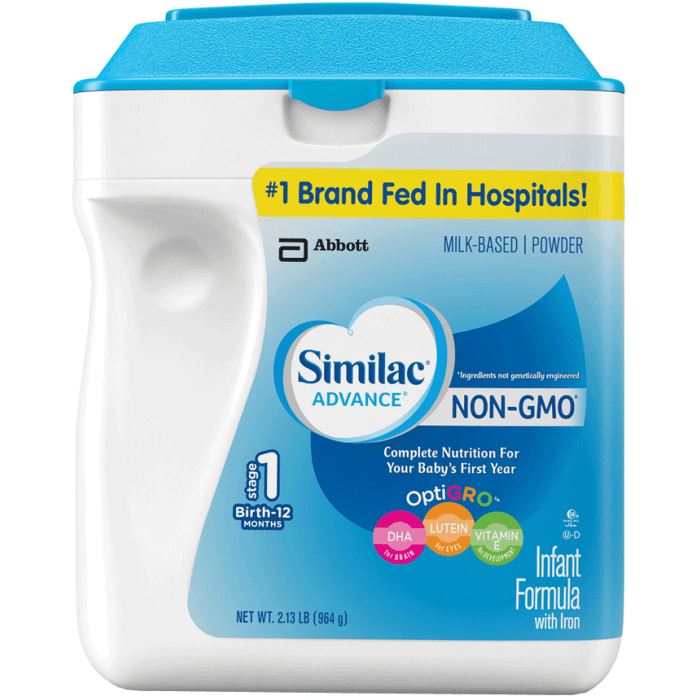 Similac Advance Non-GMO Stage 1 Infant Formula with Iron Milk Based, Powder