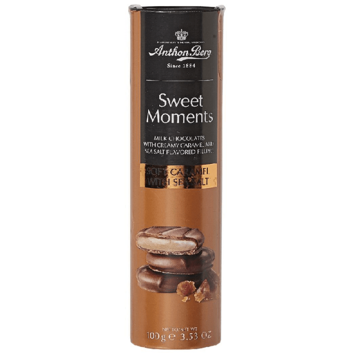 Anthon Berg Sweet Moments Milk Chocolate with Creamy Caramel and Sea Salt Flavored Filling 100 Grams