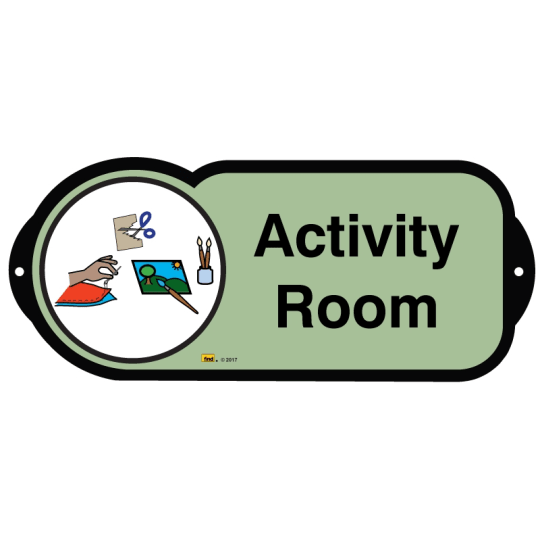Dementia friendly Activity Room sign for autism and learning disabilities - signage