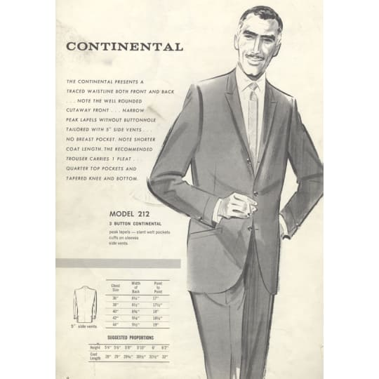 Continental Suits - A4 (210 x 297mm)