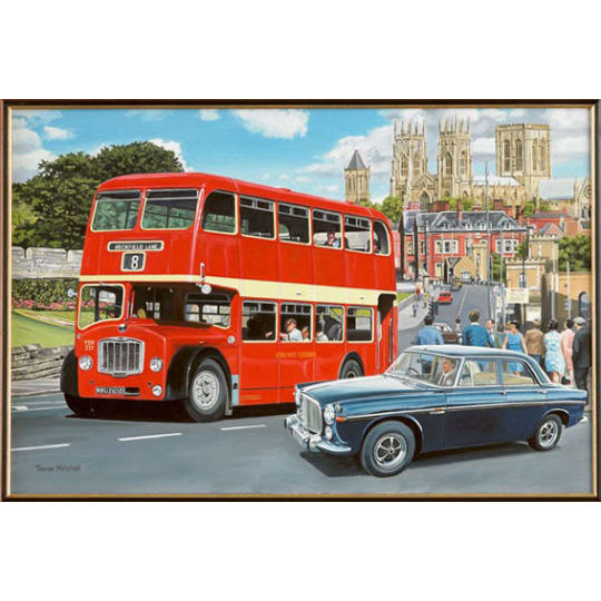 Double Decker Bus with a Cathedral in the background - A4 (210 x 297mm)