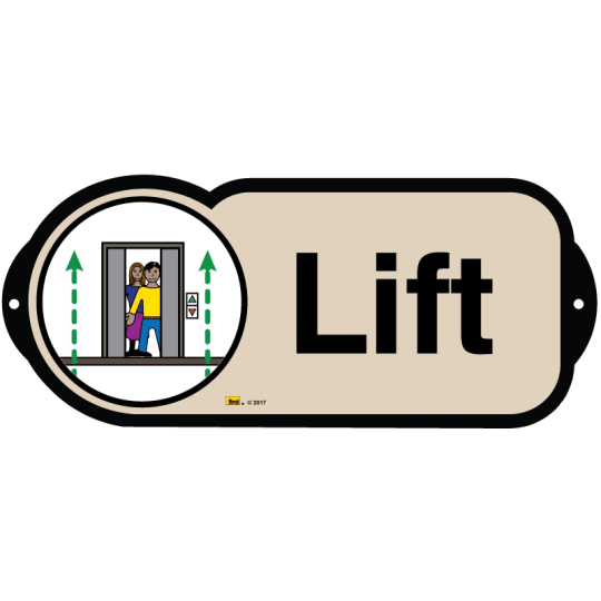 Lift sign for autism and learning disabilities - signage