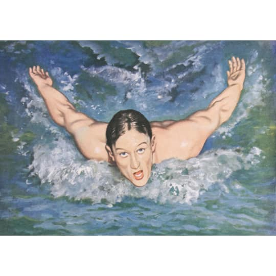 Woman swimming butterfly stroke  - A4 (210 x 297mm)