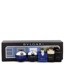 Bvlgari Man In Black by Bvlgari Gift Set -- Travel Size Gift Set Includes Bvlgari Aqua Atlantique, Aqua Pour Homme, BLV, Man Wood Essence, Man in Black all in .17 oz sizes for Men
