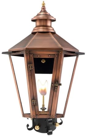 Nottoway Post Mount Gas Copper Lantern by Primo