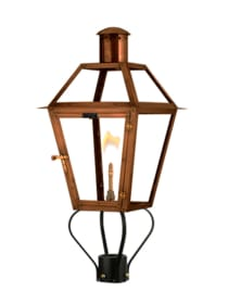Bourbon Street Gas Lanterns with Spider Post Mount by Flambeaux