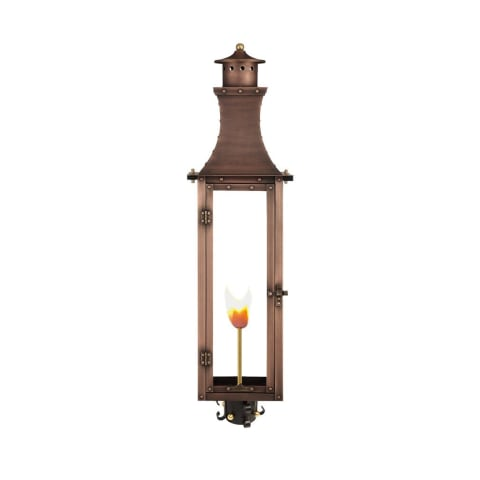 Bishop Gas Post Mount Copper Lantern by Primo