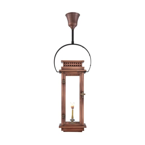 Nouveau Hanging Yoke Copper Lantern by Primo
