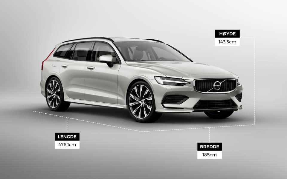 Volvo V60 er en stor bil på størrelse med Volvo V70. I denne bilen får man plass til alt man trenger å få med seg!