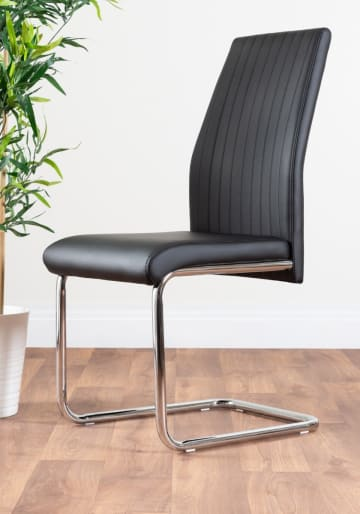2x Lorenzo Black Faux Leather Chrome Dining Chairs