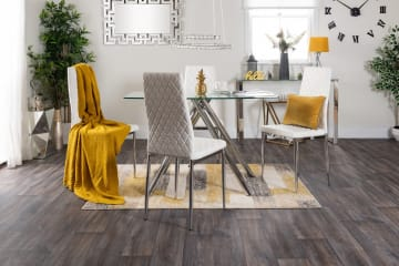 Alexa Clear Glass And Chrome Metal Dining Table And 4 Milan Chairs Set