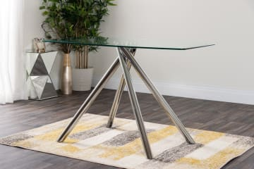 Alexa 4 Clear Glass And Chrome Metal Dining Table
