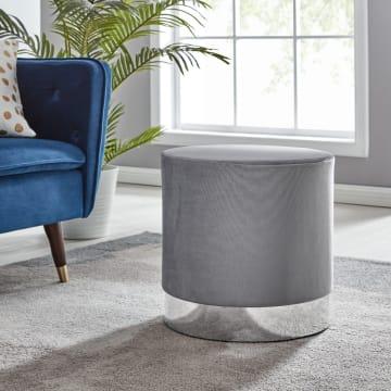 Como Grey Velvet Upholstered Silver Stool