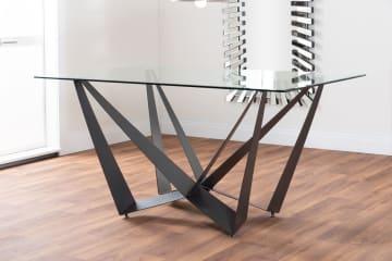 Anfora Glass/Black Metal Modern 6 Seater Dining Table