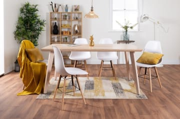 Beaumont Large Oak Effect Dining Table And 6 Stylish Sven Dining Chairs