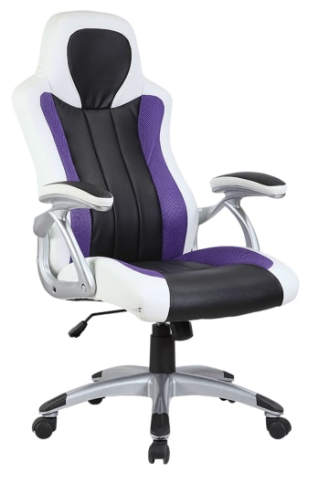 Purple, White & Black Racing Sports Style Office Computer Desk Chair