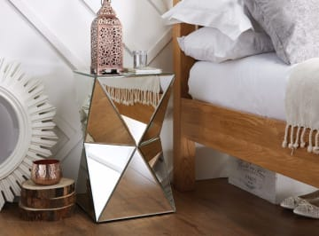 Diamond Mirrored Bedside/Side Table