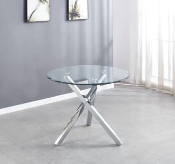 Selina Chrome Round Square Leg Glass Dining Table
