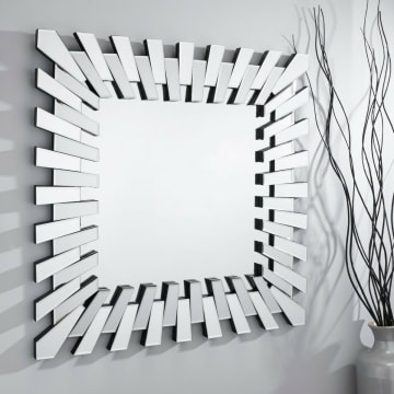Starburst Large Square Modern Silver Wall Mirror