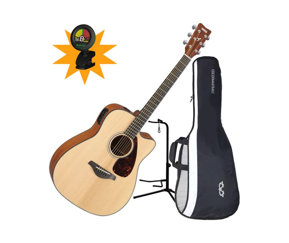 yamaha fgx700sc folk acoustic electric guitar bundle. Black Bedroom Furniture Sets. Home Design Ideas