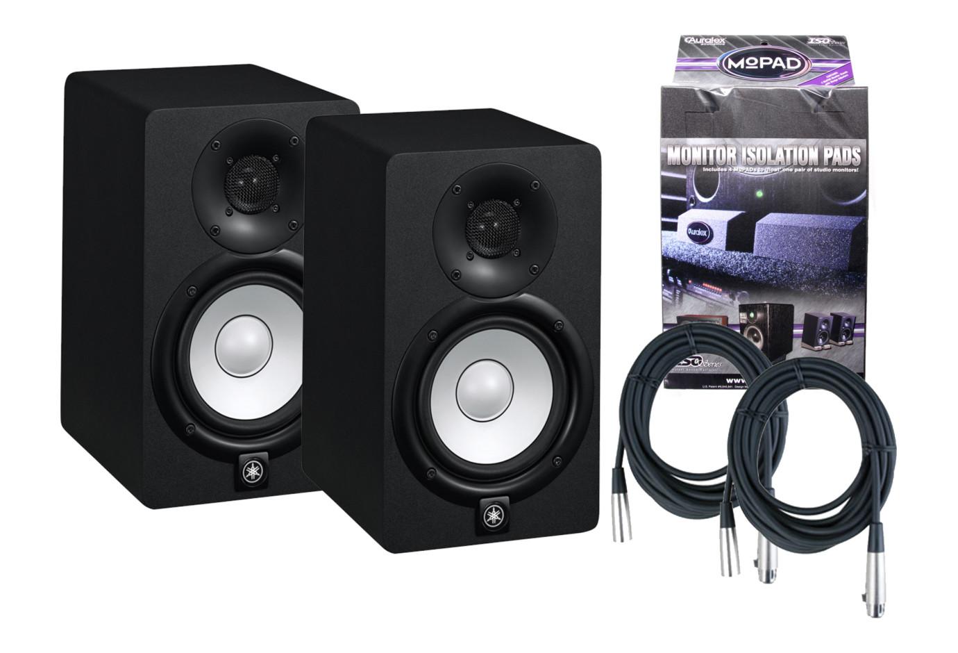 2 yamaha hs5 70 watt powered studio monitor bundle for Yamaha hs5 speaker stands