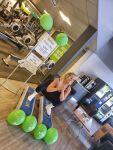 Gym member taking part in squat challenge
