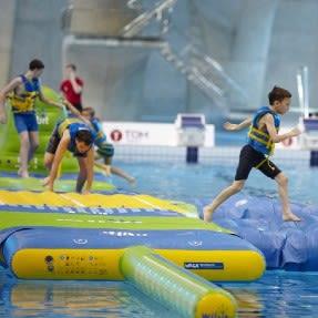 Kids playing in aqua splash