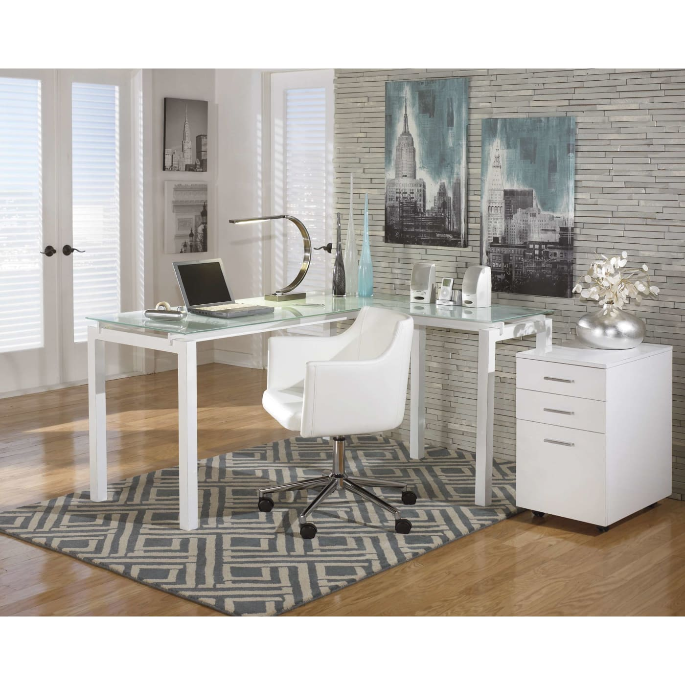Signature Design By Ashley Baraga White L-Desk & Reviews