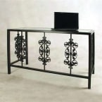 Grace Collection Burnished Copper Vineyard Desk with Glass Insert