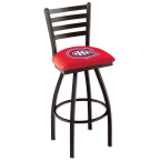 """Holland Bar Stool 30"""" Black Wrinkle Montreal Canadiens Swivel Bar Stool with Ladder Style Back"""