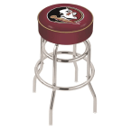 "Holland Bar Stool 30"" Florida State (Head) Cushion Seat Swivel Bar Stool with Double-Ring Chrome Base"
