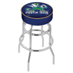 "Holland Bar Stool 30"" Notre Dame (Leprechaun) Cushion Seat Swivel Bar Stool with Double-Ring Chrome Base"