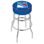 "Holland Bar Stool 30"" New York Rangers Cushion Seat Swivel Bar Stool with Double-Ring Chrome Base"