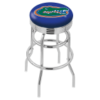 """Holland Bar Stool 25"""" Chrome University of Florida Double-Ring Swivel Bar Stool with 2.5"""" Ribbed Accent Ring"""