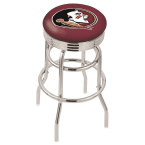 "Holland Bar Stool 25"" Chrome Florida State (Head) Double-Ring Swivel Bar Stool with 2.5"" Ribbed Accent Ring"