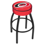 "Holland Bar Stool 25"" Carolina Hurricanes Cushion Seat Swivel Bar Stool with Black Wrinkle Base"