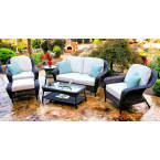 Tortuga Outdoors Sea Pines 6 Piece Deep Seating Set with Loveseat in Java Wicker with Rave Spearmint Cushions