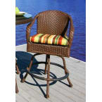 Tortuga Outdoors Sea Pines Bar Chair in Java Wicker with Rave Spearmint Cushions