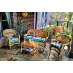 Tortuga Outdoors Portside 4 Piece Seating Set in Amber Wicker with Haliwell Caribbean Cushions