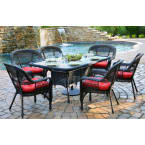 Tortuga Outdoors Portside 7 Piece Dining Set in Dark Roast Wicker with Haliwell Caribbean Cushions