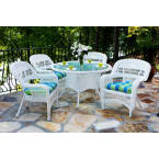 Tortuga Outdoors Portside 5 Piece Dining Set in White Wicker with Haliwell Caribbean Cushions