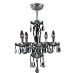 "Worldwide Lighting Gatsby Collection 5 Light Chrome Finish and White Blown Glass Chandelier 16"" D x 18"" H Mini"