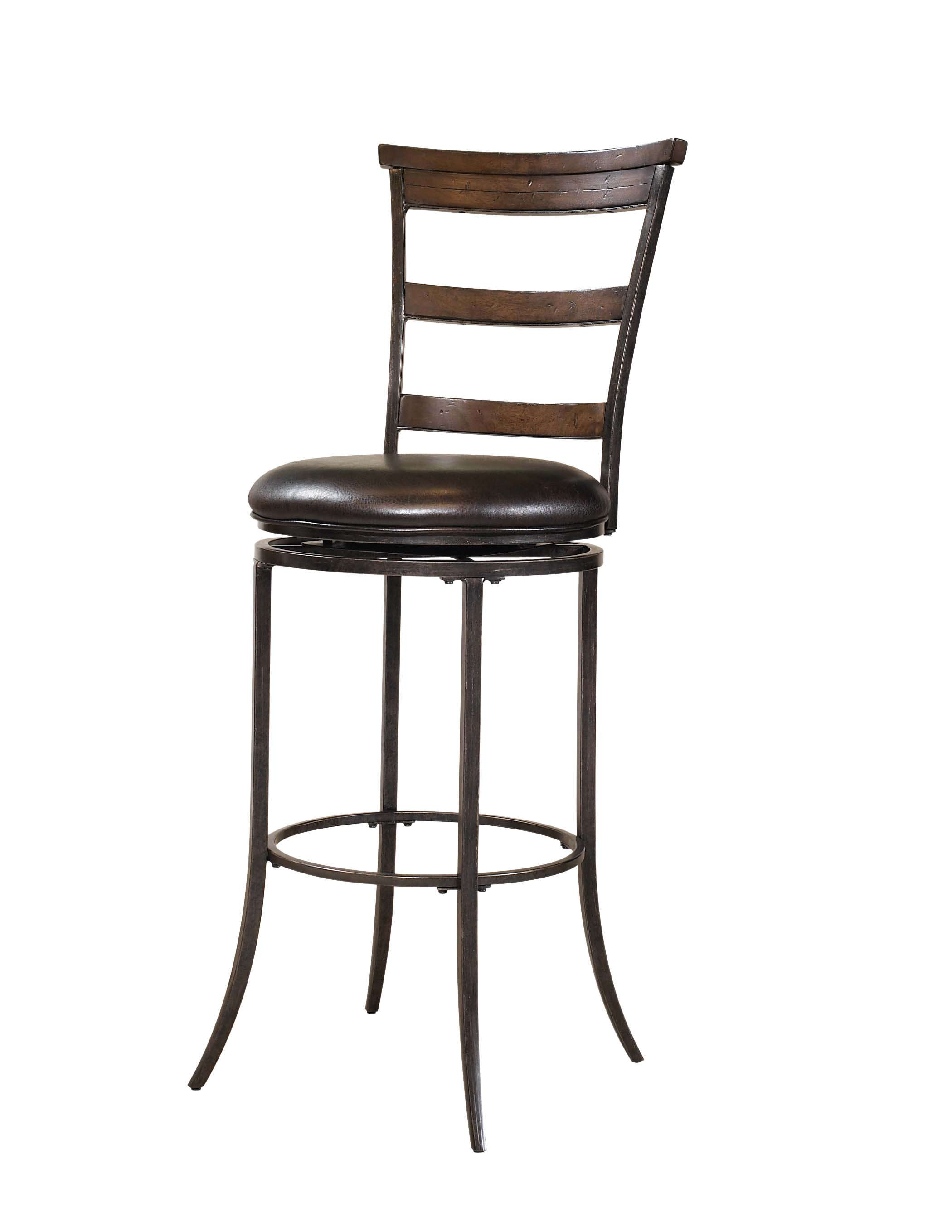 Cameron Charcoal Gray & Chestnut Brown Swivel Ladder Back Counter Stool