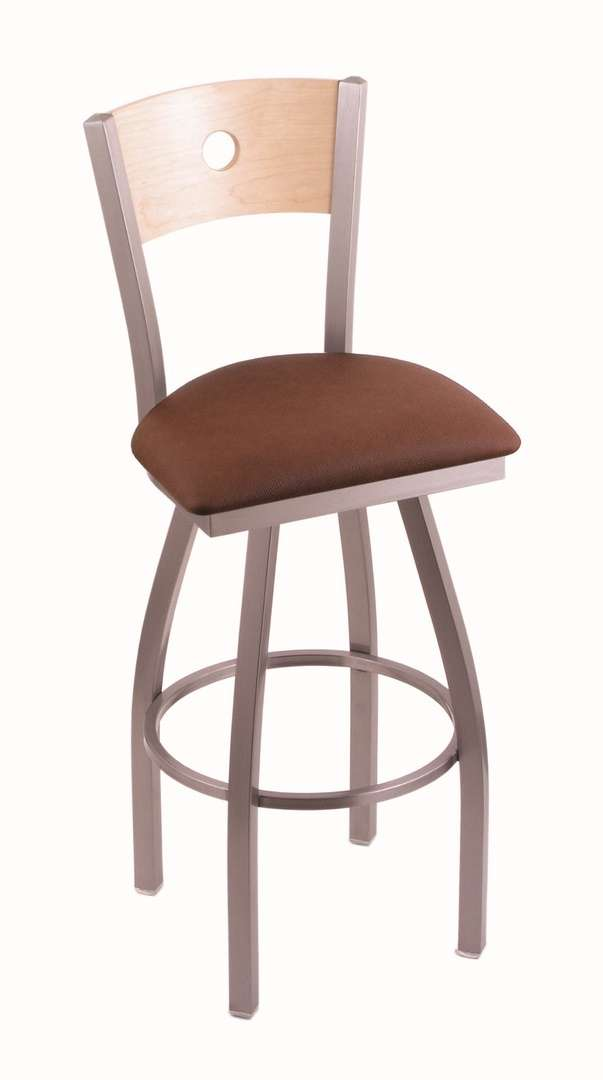 """830 36"""" Voltaire Stainless Swivel Stool with Natural Maple Back and Rein Adobe Seat"""