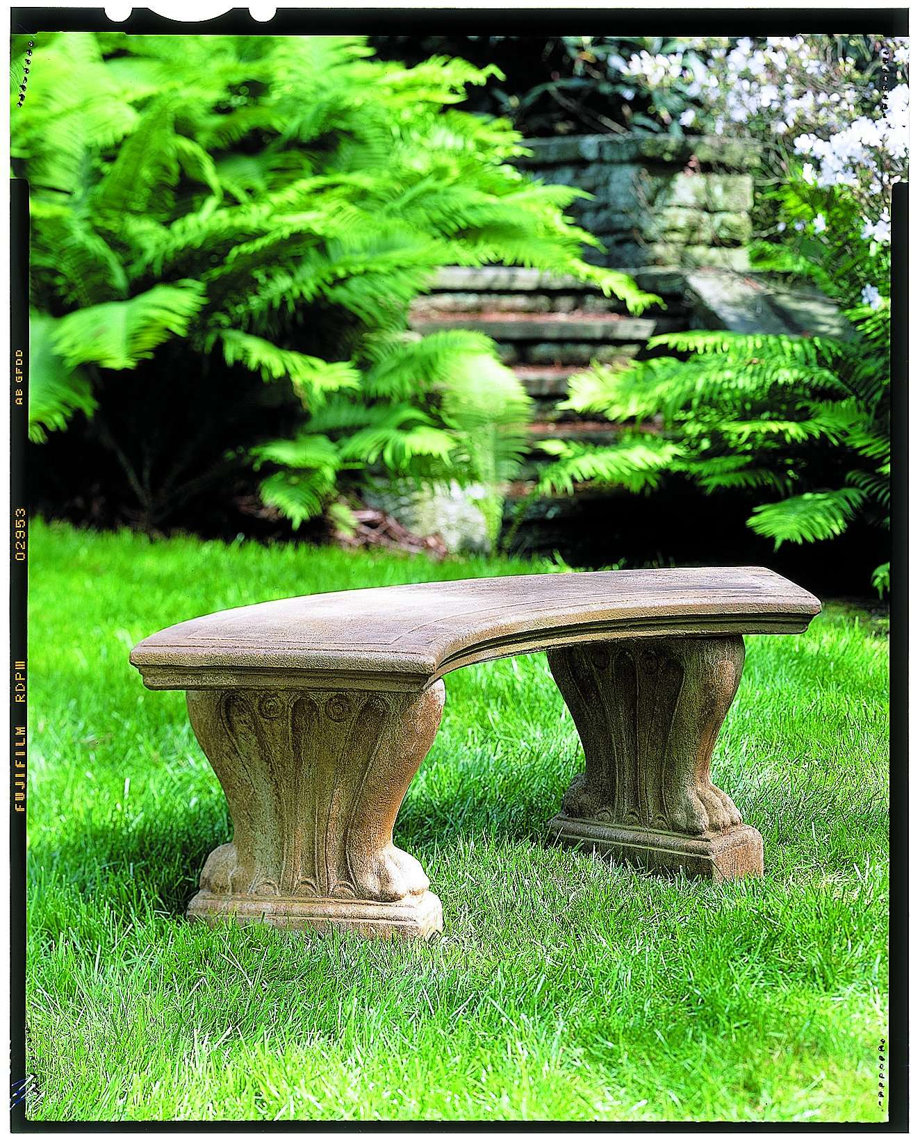 West Chester Grey Stone Curved Bench