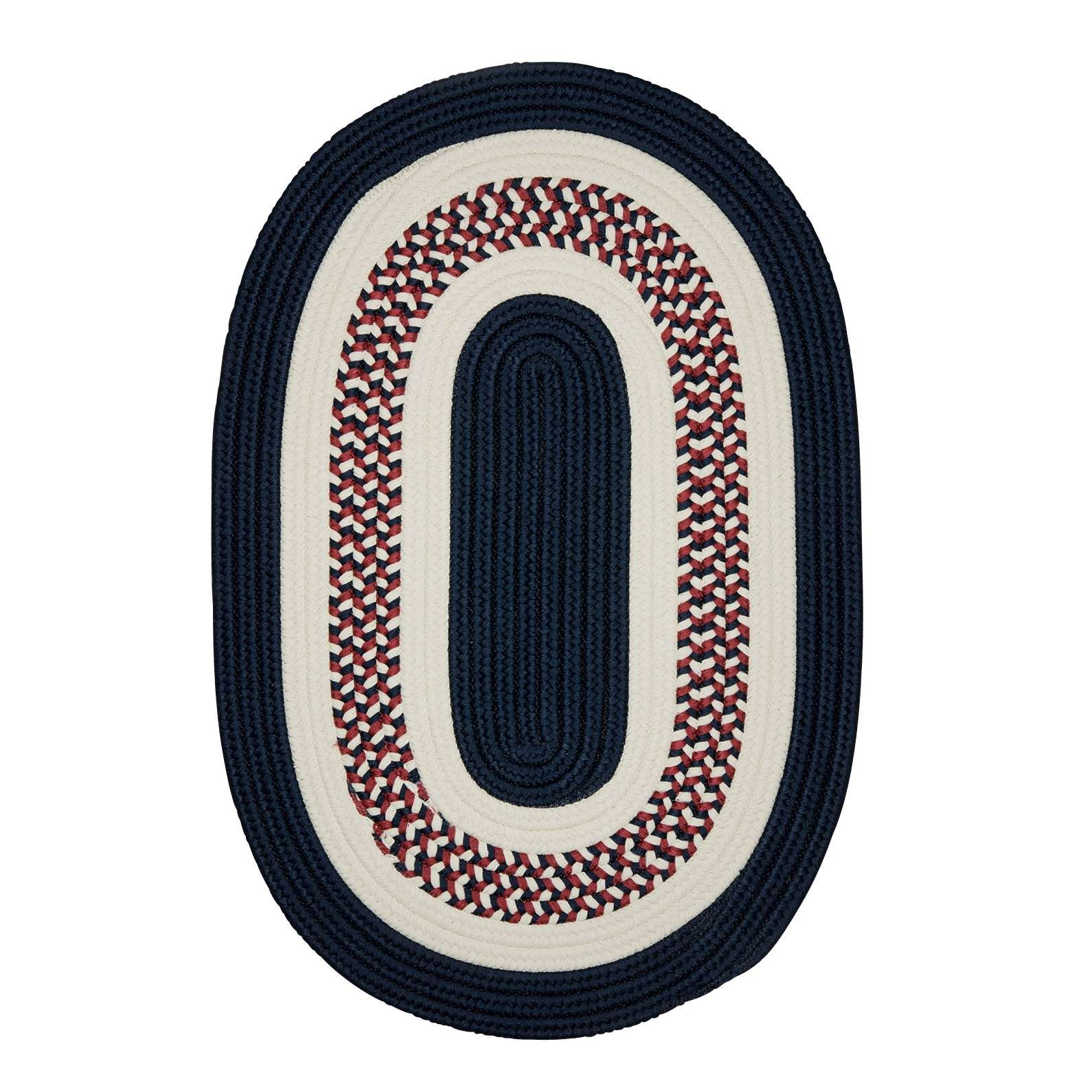 Flowers Bay Patriot Blue 2'x4' Oval Rug